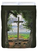 Crucifix Overlooking The French Countryside Duvet Cover