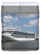 Cruise Ships At Cruiseport Boston Duvet Cover