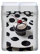 Cupcake With Cherry Duvet Cover