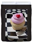 Cupcake With Heart On Checker Plate Duvet Cover