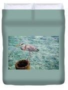 Curious Heron. Maldives Duvet Cover