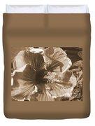 Curly Hibiscus In Sepia Duvet Cover