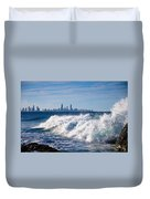 Currumbin Beach Waves On Rocks Duvet Cover