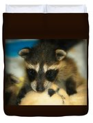 Cute Face Behind The Mask Baby Raccoon Duvet Cover