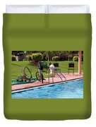 Cycle Near A Swimming Pool And Greenery Duvet Cover