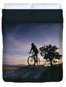 Cyclist At Sunset, Northern Arizona Duvet Cover