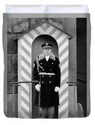 Czech Soldier On Guard At Prague Castle Duvet Cover