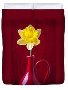 Daffodil In Red Pitcher Duvet Cover