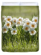 Daffodils In The Dew Covered Grass Duvet Cover