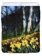 Daffodils Narcissus Flowers In A Forest Duvet Cover