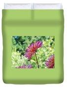 Dahlia Flower Art Print Green Summer Garden Duvet Cover