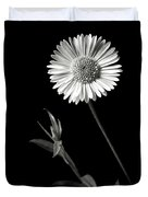 Daisy In Black And White Duvet Cover