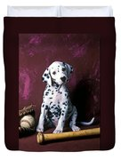 Dalmatian Puppy With Baseball Duvet Cover