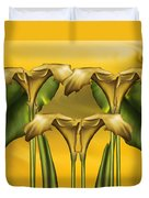 Dance Of The Yellow Calla Lilies Duvet Cover
