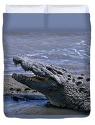 Danger On The Mara River Duvet Cover