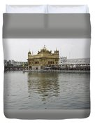 Darbar Sahib And Sarovar Inside The Golden Temple Duvet Cover