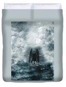 Dark Angel Kneeling On Stairway In The Clouds Duvet Cover