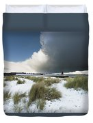 Dark Clouds And Blue Sky Over A Red Duvet Cover
