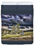 Dark Clouds Over The Farm Duvet Cover