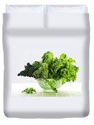 Dark Green Leafy Vegetables In Colander Duvet Cover