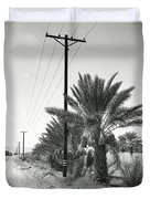 Date Palms On A Country Road Duvet Cover