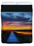 Dawn Skies At The Fishing Pier Duvet Cover