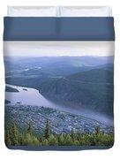 Dawson City And The Yukon River Duvet Cover