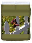 Day Lily And White Fence II Duvet Cover