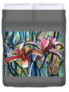 Daylily Stix Duvet Cover by Kathy Braud