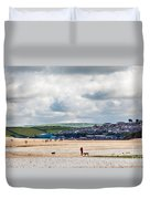 Daymer Bay Beach Landscape In Cornwall Uk Duvet Cover