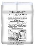 De Re Metallica, Title Page, 16th Duvet Cover by Science Source