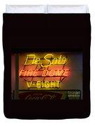 De Soto Fire Dome V Eight Neon Sign Duvet Cover