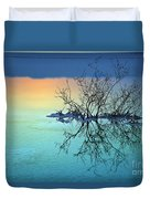 Dead Sea - Withered Bush At Dawn Duvet Cover