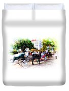 Decatur Street At Jackson Square Duvet Cover by Bill Cannon