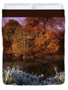 Deciduous Woods, In Autumn With Frost Duvet Cover by The Irish Image Collection