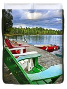 Deck Chairs On Dock At Lake Duvet Cover by Elena Elisseeva