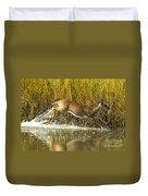 Deer Running Through The Salt Marsh Duvet Cover