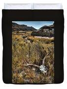 Deer Skull In Montana Badlands Duvet Cover