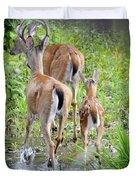 Deer Running In Stream Duvet Cover