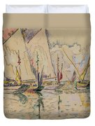 Departure Of Tuna Boats At Groix Duvet Cover by Paul Signac