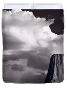 Devils Tower Wyoming Bw Duvet Cover