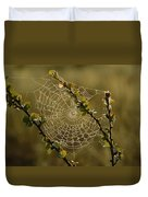 Dew Highlights An Orb-weaver Spiders Duvet Cover