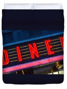Diner Sign In Neon Duvet Cover