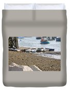 Dinghies At Green Harbor Duvet Cover