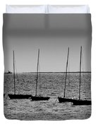 Dinghies Moored Off Of Leigh On Sea Essex Duvet Cover