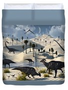 Dinosaurs Gather At A Life Saving Oasis Duvet Cover