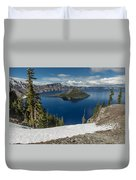 Discovery Point And Wizard Island Duvet Cover
