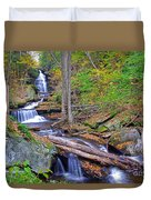 Distant Ozone Falls And Rapids In Autumn Duvet Cover