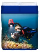 Diver And Anenome Fish Duvet Cover