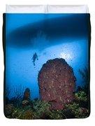 Diver And Barrel Sponge, Belize Duvet Cover